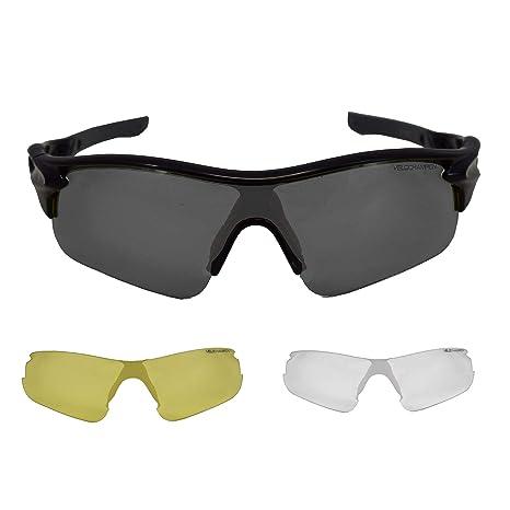 VeloChampion Warp Gafas de Sol (con 3 Lentes: Inc Ahumado, Claro) Negro Black Sunglasses