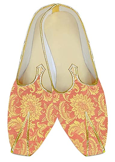 Mens Golden Kheenkhap Wedding Shoes Designer Flower MJ18309