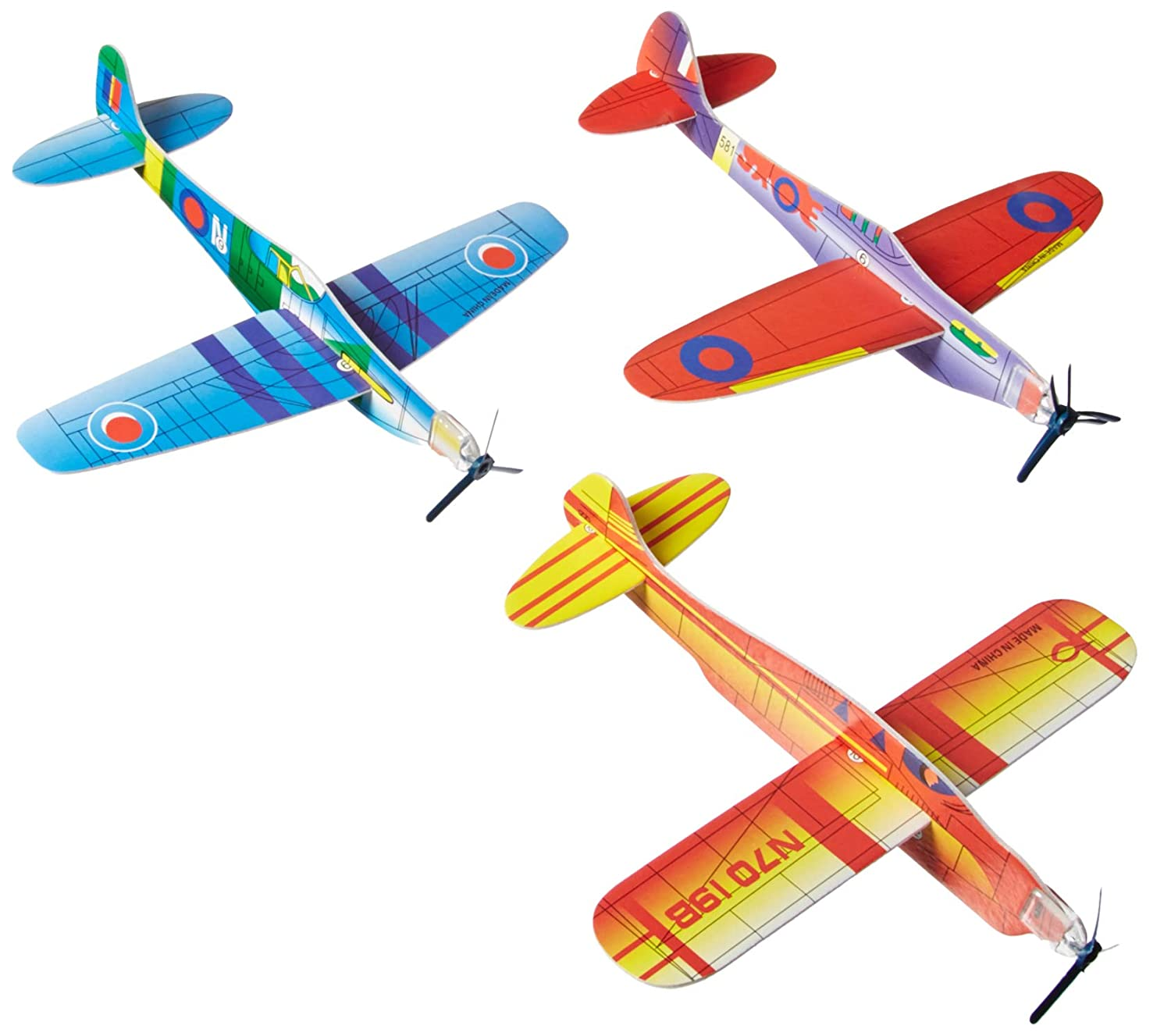 FOAM WWII ASSORTED GLIDERS (BOX of 12 different planes 48 in total) Rhode Island Novelty GD-FLYPL