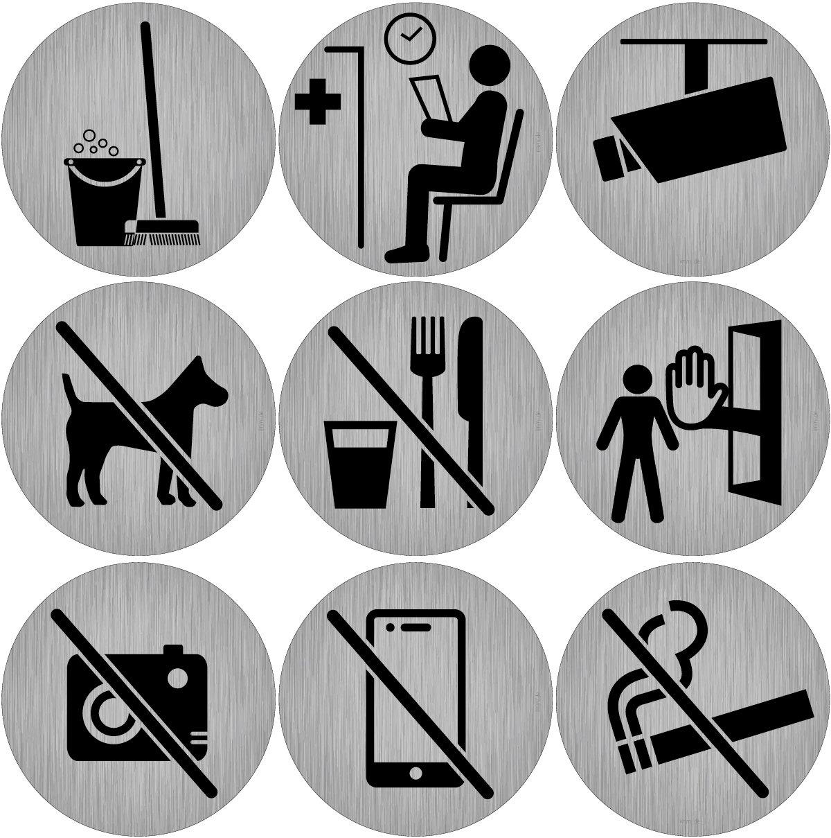 9Porte Panneaux pour les entreprises, Cliniques et pratiques, autocollants ronds à Aspect acier inoxydable, Ø 9,5cm chacun, Pictogrammes autocollants ronds à Aspect acier inoxydable Ø 9 5cm chacun immi.de