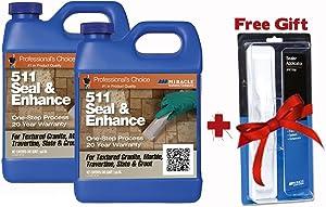 Miracle Sealants 511 Seal & Enhance 64 Oz. Penetrating Sealer (2 Quarts) + Free Mira Brush Applicator and Tray