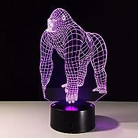 Teenage Girls Bedroom Accessories Night Light Lamp 3D Lamp Lamp Lamp Animal Gorilla Chimpanzee Light Bulb Colorful Led…