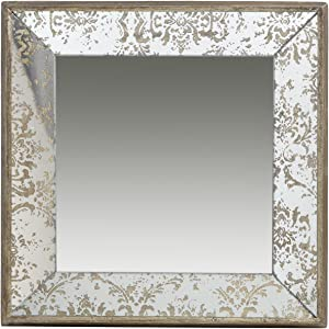 A&B Home, 15.5 x 15.5 Antique Style Frameless Wall Mirror Tray, Silver Aged Gold