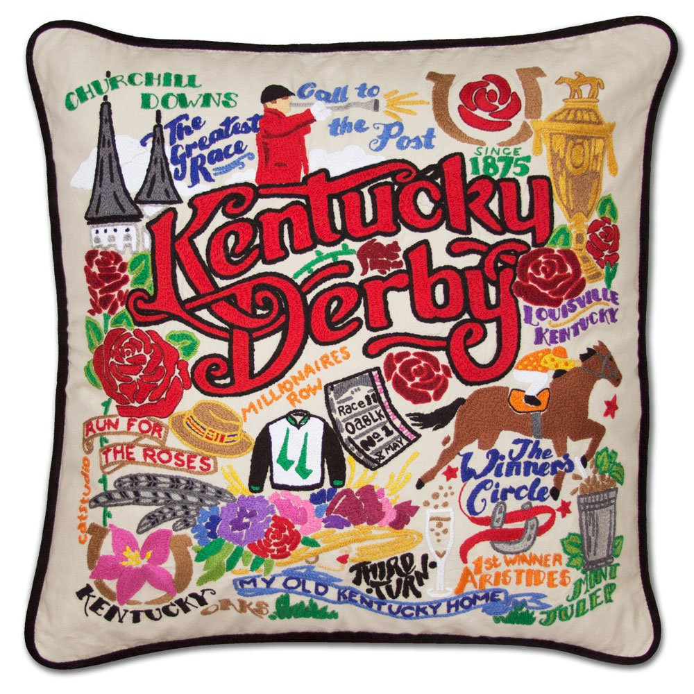 CATSTUDIO KENTUCKY DERBY HAND-EMBROIDERED PILLOW by Catstudio Embroidered Pillow