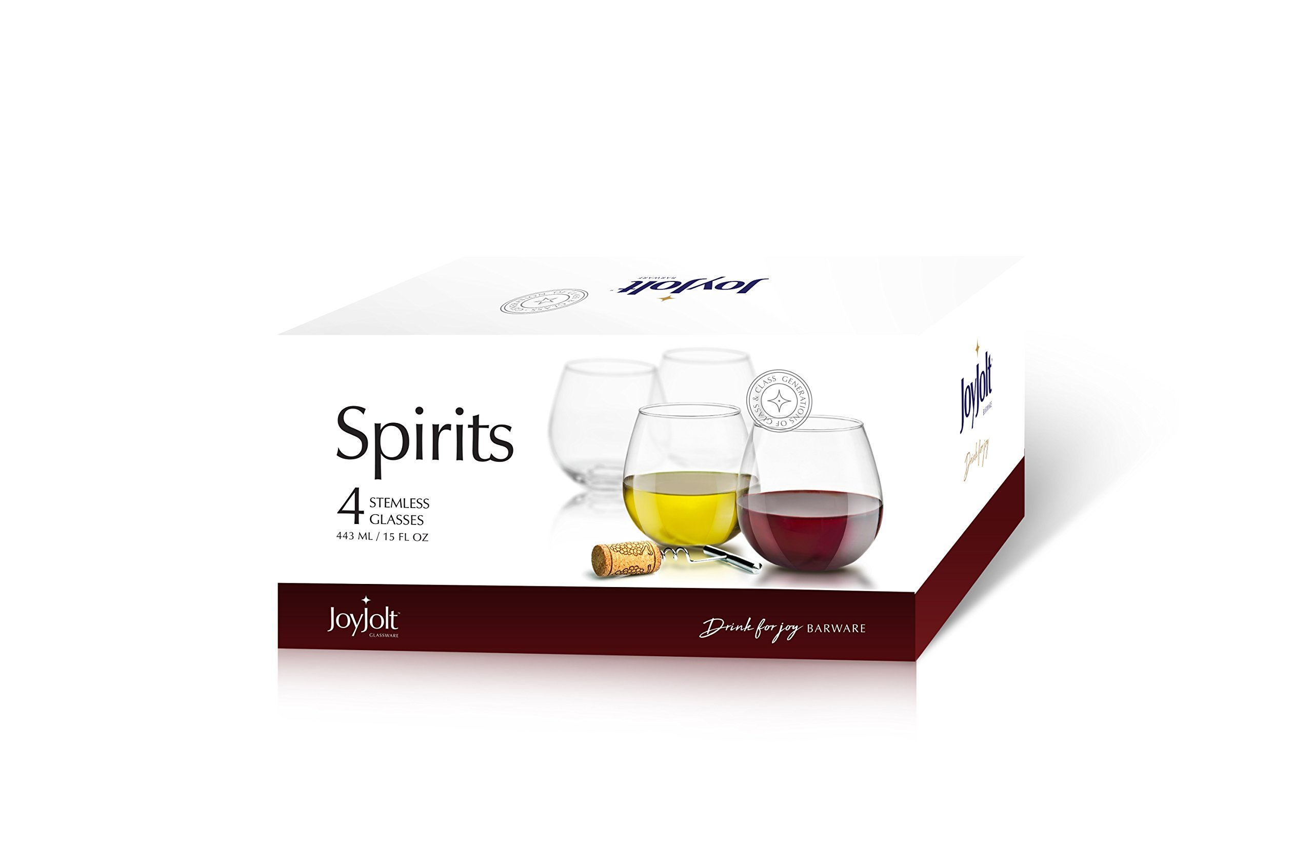 JoyJolt Spirits Stemless Wine Glasses 15 Ounce, Set of 4 Great For White Or Red Wine Mother's Day Wine Gifts Wines Glass Sets by JoyJolt (Image #3)