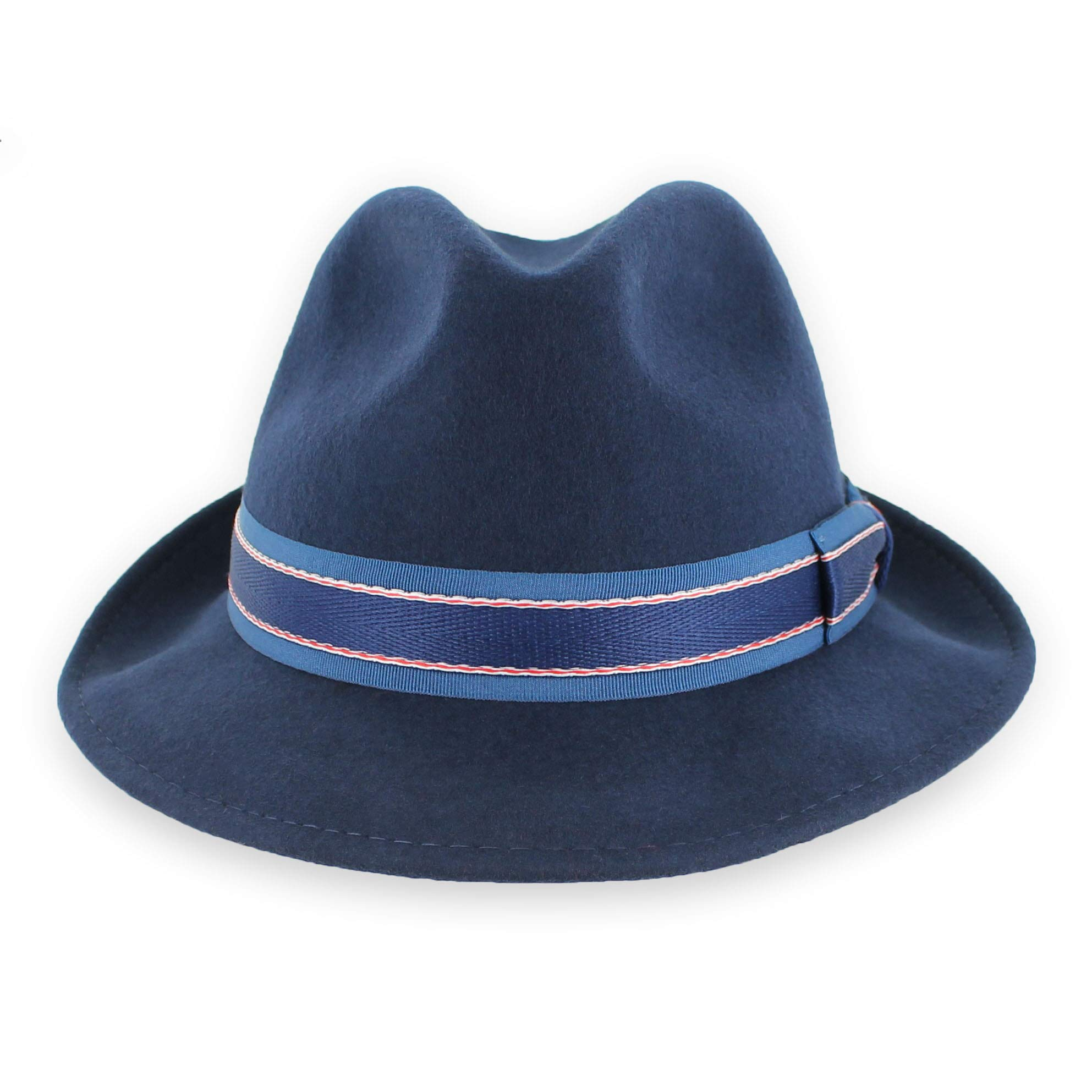 7bbd629ce Belfry Striped Trilby Men Women Crushable Wool Felt Fedora Hat (Medium) Navy