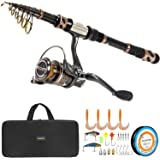 PLUSINNO Fishing Rod and Reel Combos - Carbon Fiber Telescopic Fishing Pole - Spinning Reel 12 +1 Shielded Bearings…