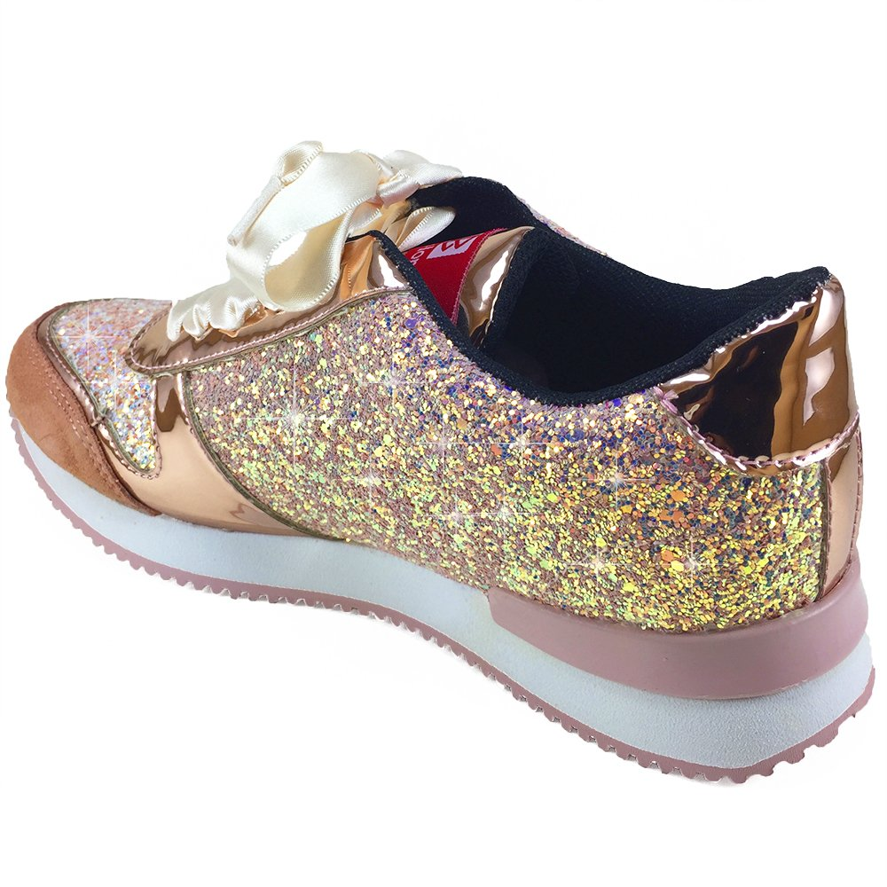 Amazon.com: Zapatillas de tenis con purpurina para mujer de ...
