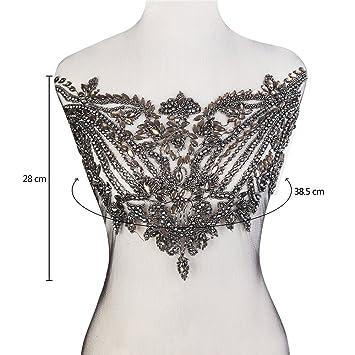 XINFANGXIU - Parches para vestido de novia con cuentas de cristal, para decoración, hecho