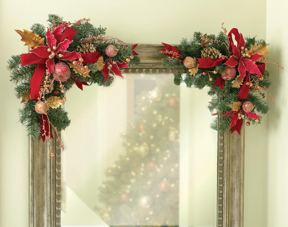 Pine Cone Christmas Holiday Corner Mirror Door Window Frame Floral Swags Home Decoration