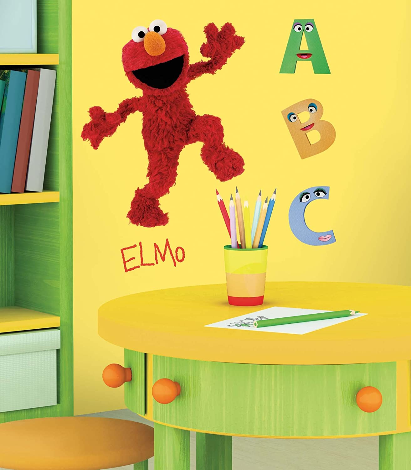 RoomMates RMK1482GM Sesame Street Elmo Peel & Stick Giant Wall Decal ...