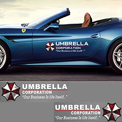 YSpring 1 Pair Umbrella Corporation Car Decals Resident Evil Decorative Auto Body Stickers for Cars Motorcycles (Style I-white-19.7 in5.9 in): Arts, Crafts & Sewing