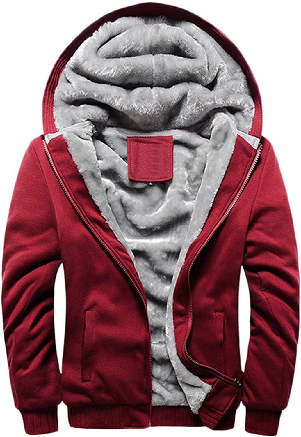 Men Hoodie Sweatshirt Classic Solid Color Hood Casual Thick Warm Tracksuit Coat Fleece Lined Male Hoody,Red,4XL