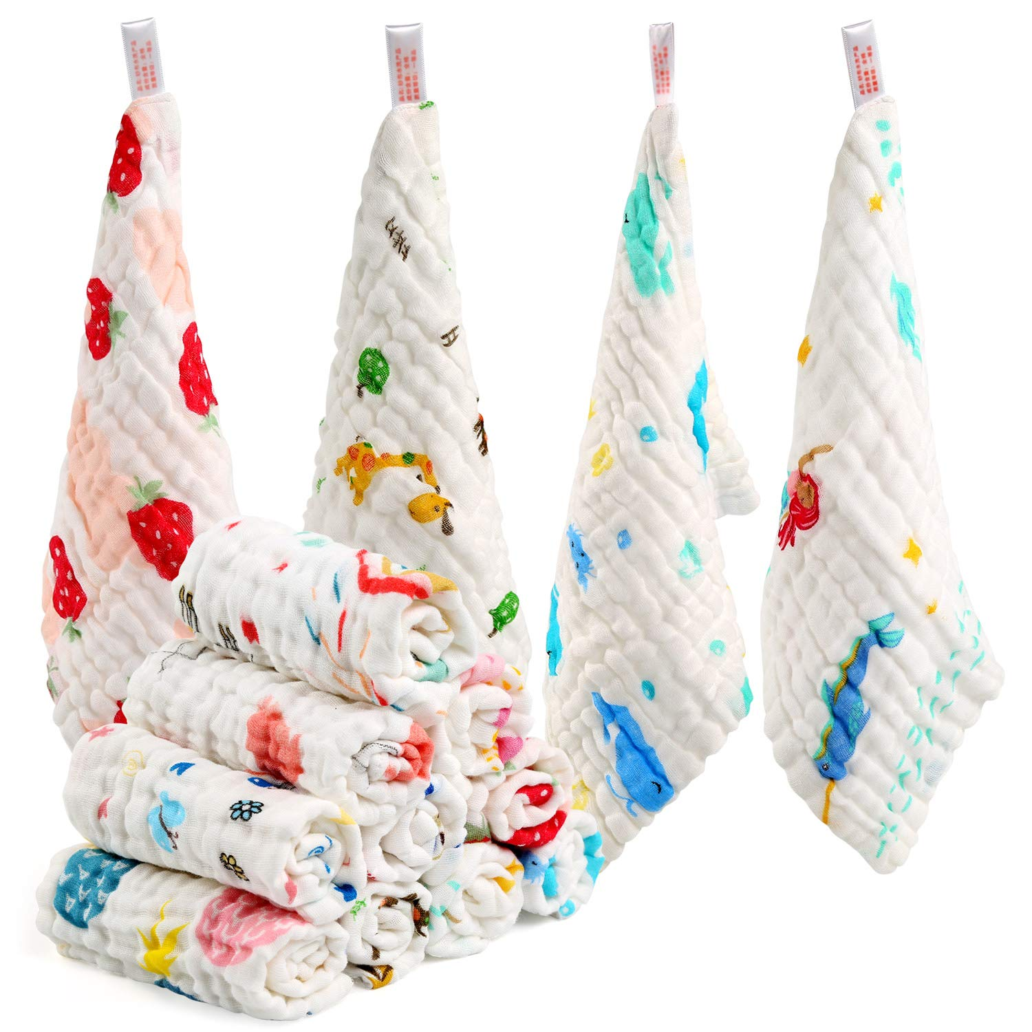 LEADSTAR Baby Muslin Washcloths 10 PCS Baby Towels Reusable Baby Wipes Cotton Squares Face Shower Bath Towel Soft Baby Wiping Bathing Feeding Towel for Newborn Baby Gift