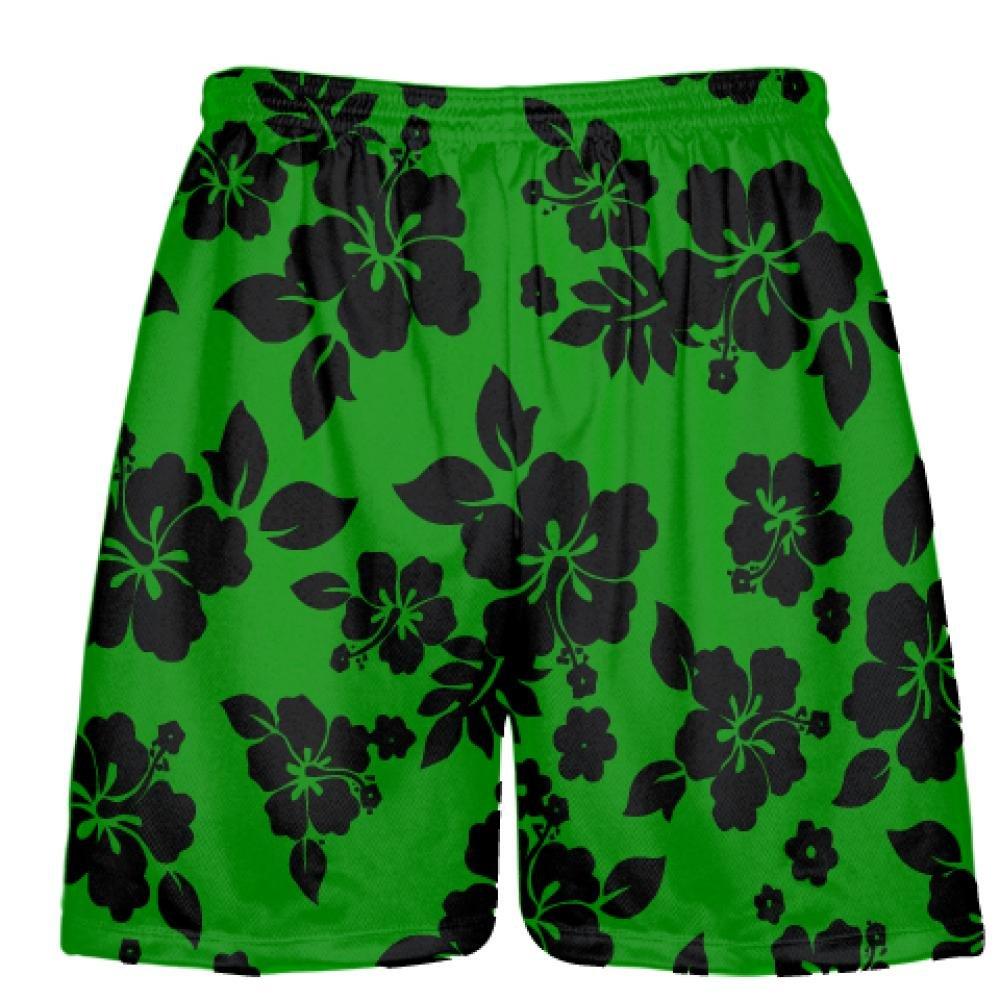LightningWear Youth Green Black Hawaiian Shorts Accent Youth Green
