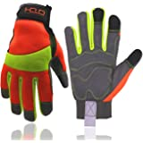 HANDLANDY Hi-vis Reflective Work Gloves, Anti Vibration Safety Gloves, Touch Screen, Orange Flexible Spandex Back Medium