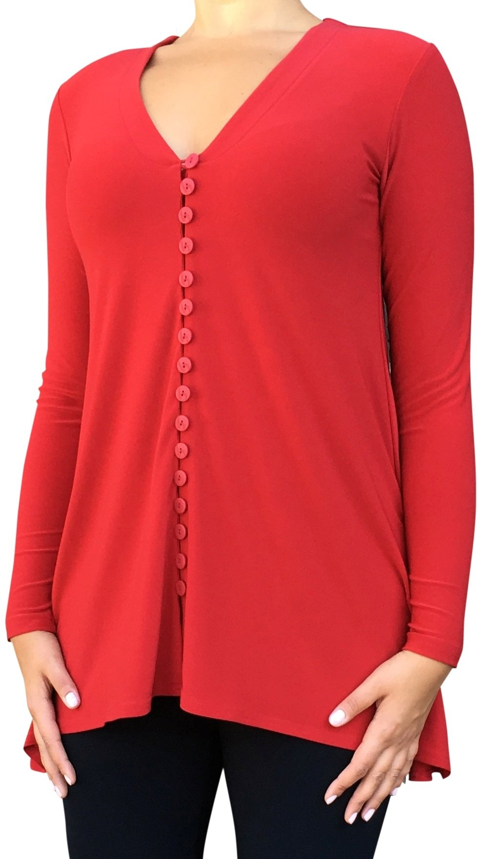 Sympli Womens DuoDiva Top Long Slv Size 14 Red