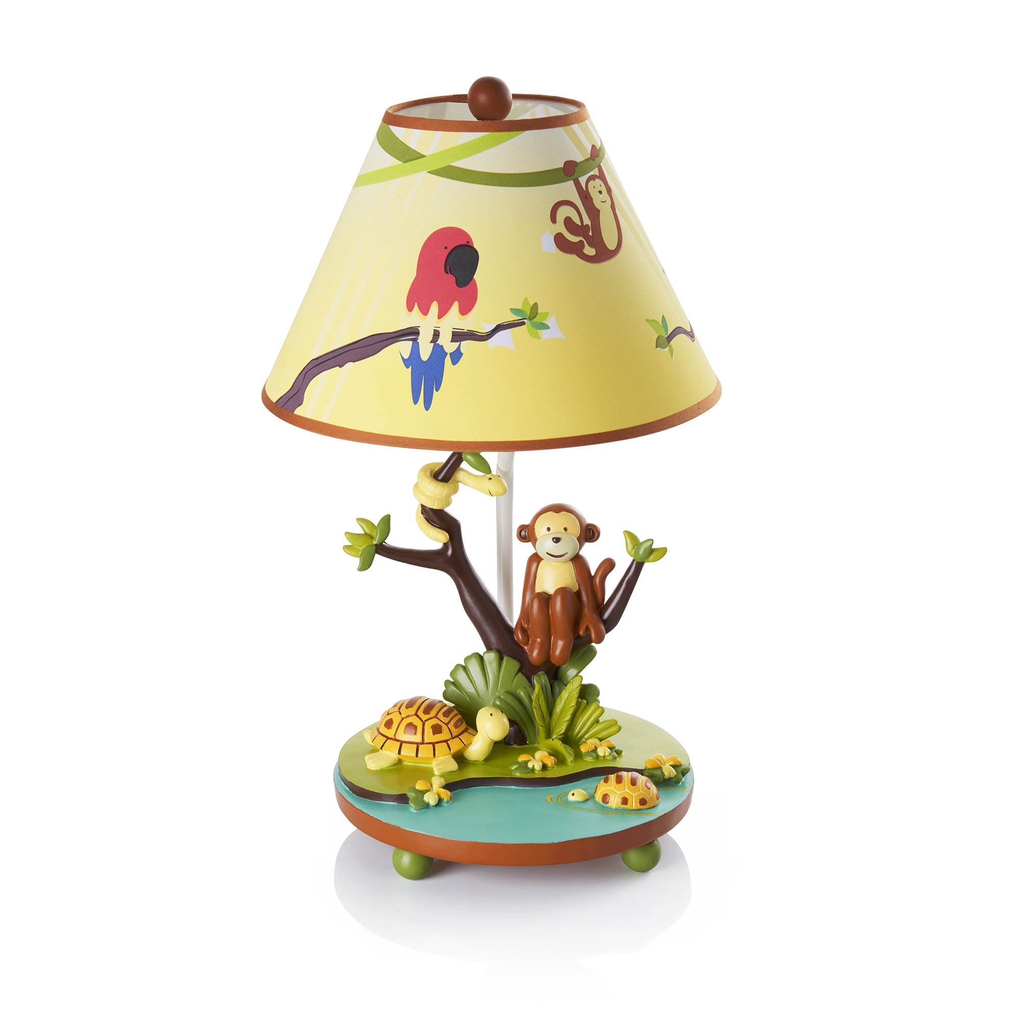 Guidecraft Hand-painted & Hand Crafted Jungle Party Thematic Kids Table Lamp