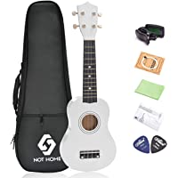 "NOT HOME® 21"" Soprano Ukulele with a Carrying Bag and a Digital Tuner, Specially Designed for Kids, Students and Beginners (White)"