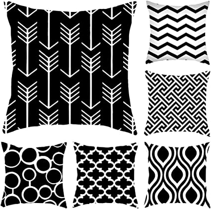 Set Of 6 Black White Geometric Throw Pillow Covers Abstract Farmhouse Secorative Cushion Cover Stripe Cotton Linen Handmad Throw Pillow Cushion Cases For Sofa Bed Couch Car Black Sports Outdoors
