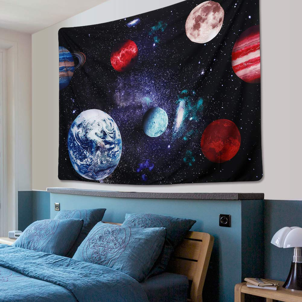 Dremisland Outer Space Planet Moon Earth Stars Wall Hanging Wall Tapestry Home Art Decor Wall Decor for Kids Babys Children Bedroom Rooms Ceiling Living Room Nursery School Large// 59 x 79