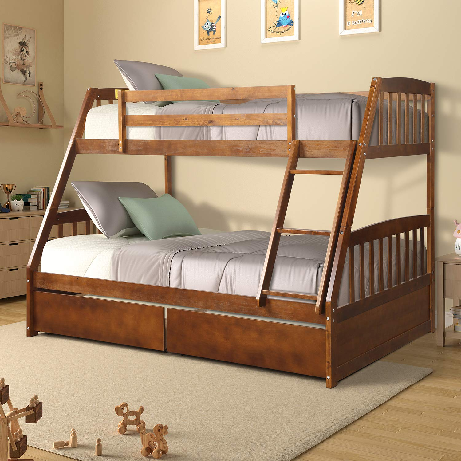Hinpia Solid Wood Twin Over Full Bunk Bed with 2 Under Bed Storage Drawers, Safety Guard Rail, and Ladder Converts to Separate Beds, for Kids, Teens, Guest Rooms, Walnut