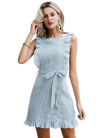e05b01ba741f84 Simplee Women's Lace Ruffle Sleevesless Elegant Mini A-line Dress with Belt  (Blue 0