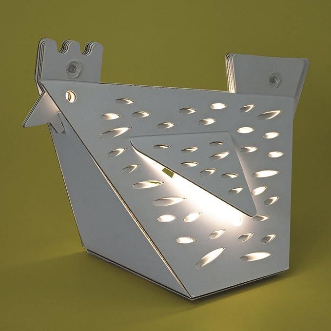 Lina la Gallina, de Cartunia Design: una lámpara de mesa o luz de noche fácil de montar. LED y cable de recarga USB incluidos. Largo: 30 cm, ancho: ...