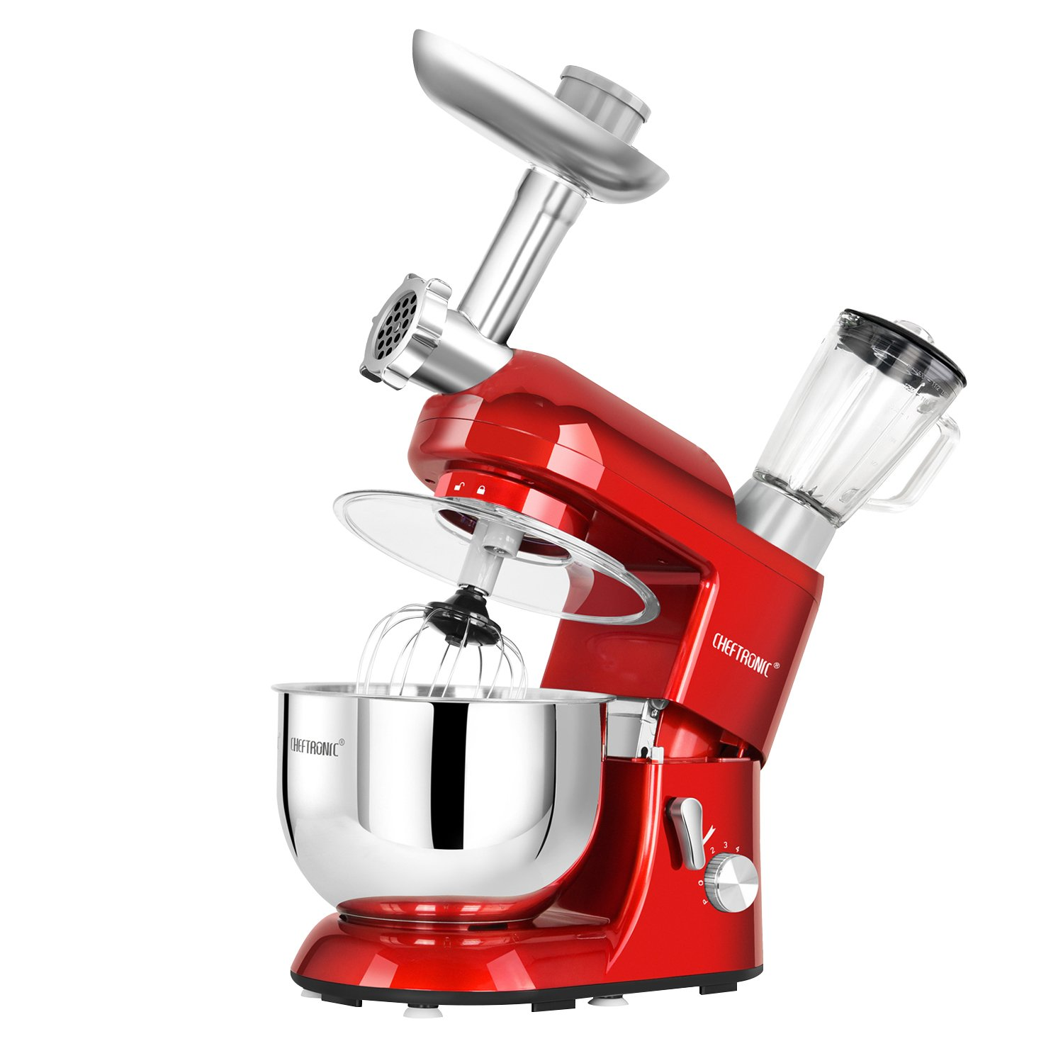 CHEFTRONIC Stand Mixer Tilt-Head 120V/650W Electric Stand Mixer with 5.5QT Stainless Bowl, 6 Speed Multifunctional Kitchen Mixer, Meat grinder, Sausage stuffer, pasta dies and Juice Blender by CHEFTRONIC (Image #2)