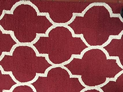 Amazon Com Pier 63 Hand Tufted Wool Area Rug With Red And White