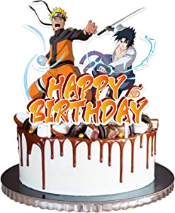 Ninja Anime Big Happy Birthday Cake Toppers Cake Decorations Kits Party Supplies for Kids Fans' Anime Theme Birthday Party