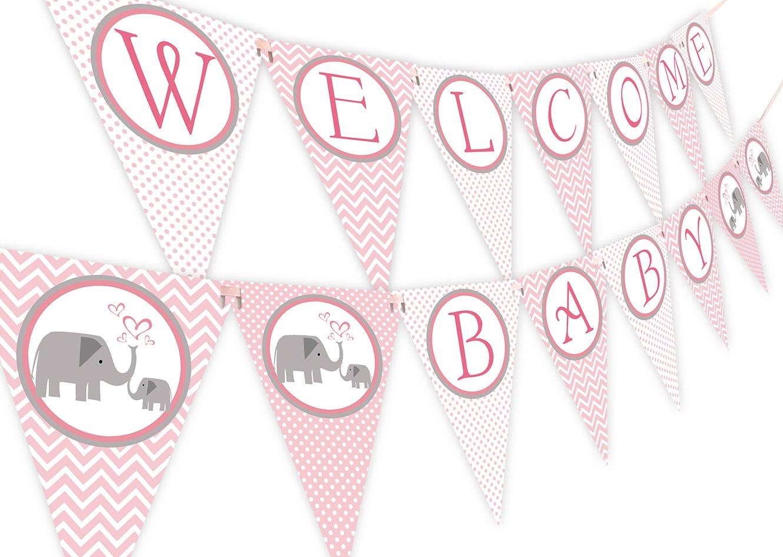 Little Elephant Pink Baby Shower Banner Pennant
