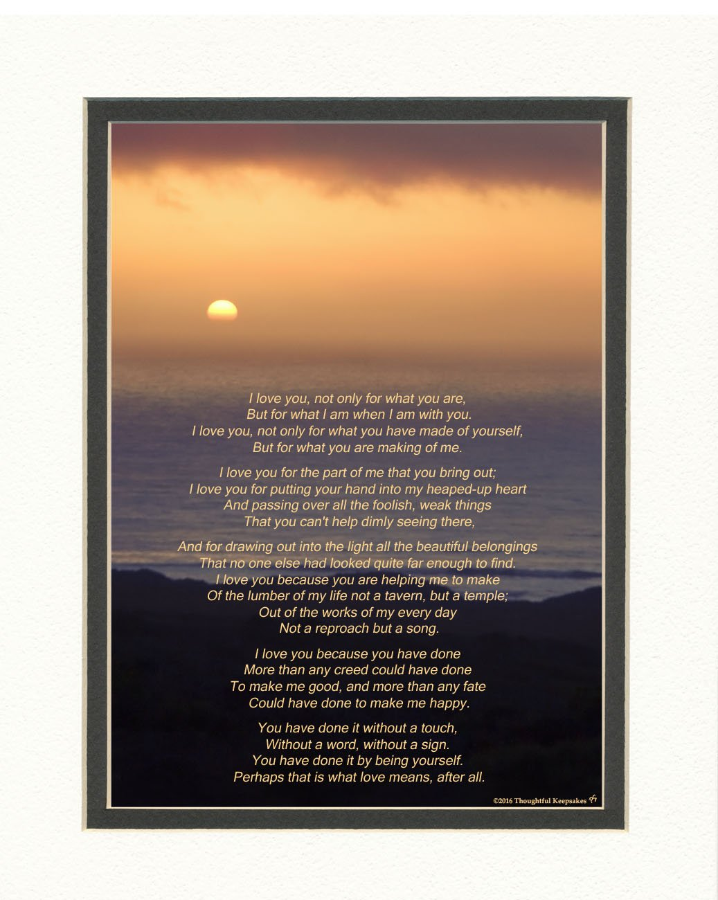 Gift for Husband, Wife, Boyfriend or Girlfriend. Ocean Sunset Photo with ''I Love You'' Poem by Roy Croft, 8x10 Double Matted. Special Anniversary Gift, Valentine's Day, Birthday, Christmas Gifts