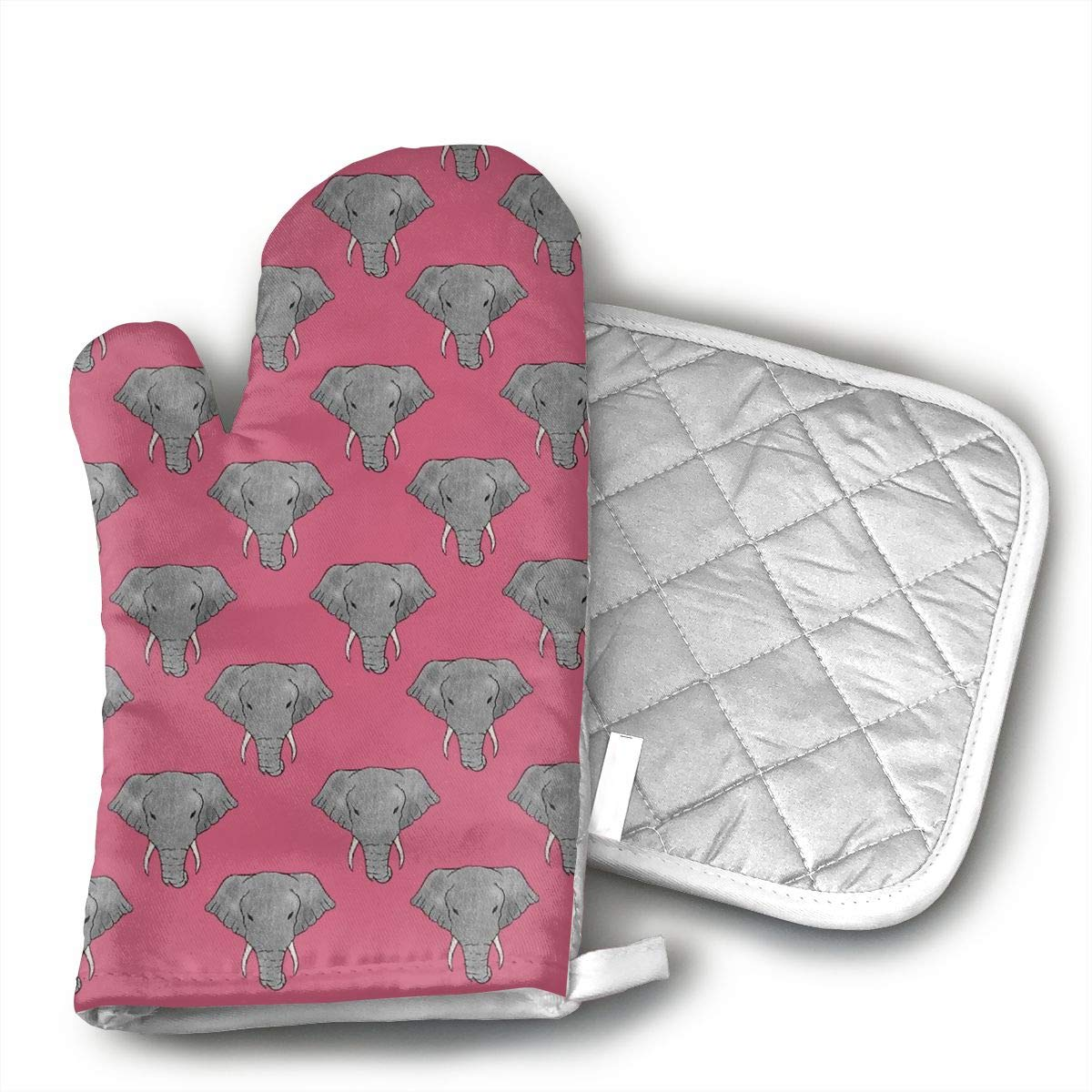 QEDGC Elephant Head Pink Grill Oven Gloves ¨C Heat Resistant Gloves ¨C BBQ Gloves for Cooking, Grilling, Baking