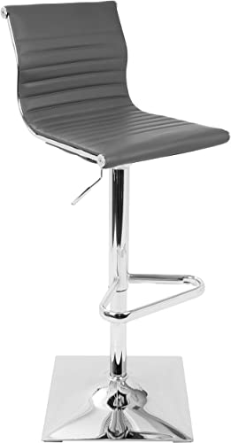 WOYBR BS GY Pu Leather, Chrome Master Barstool,