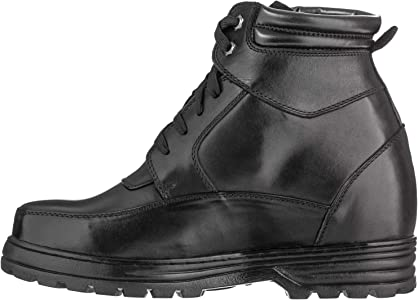 Calden Mens Invisible Height Increasing Elevator Shoes K881805 Black Pebble Grain Leather Lace-up Ankle Boots with Extra Tall