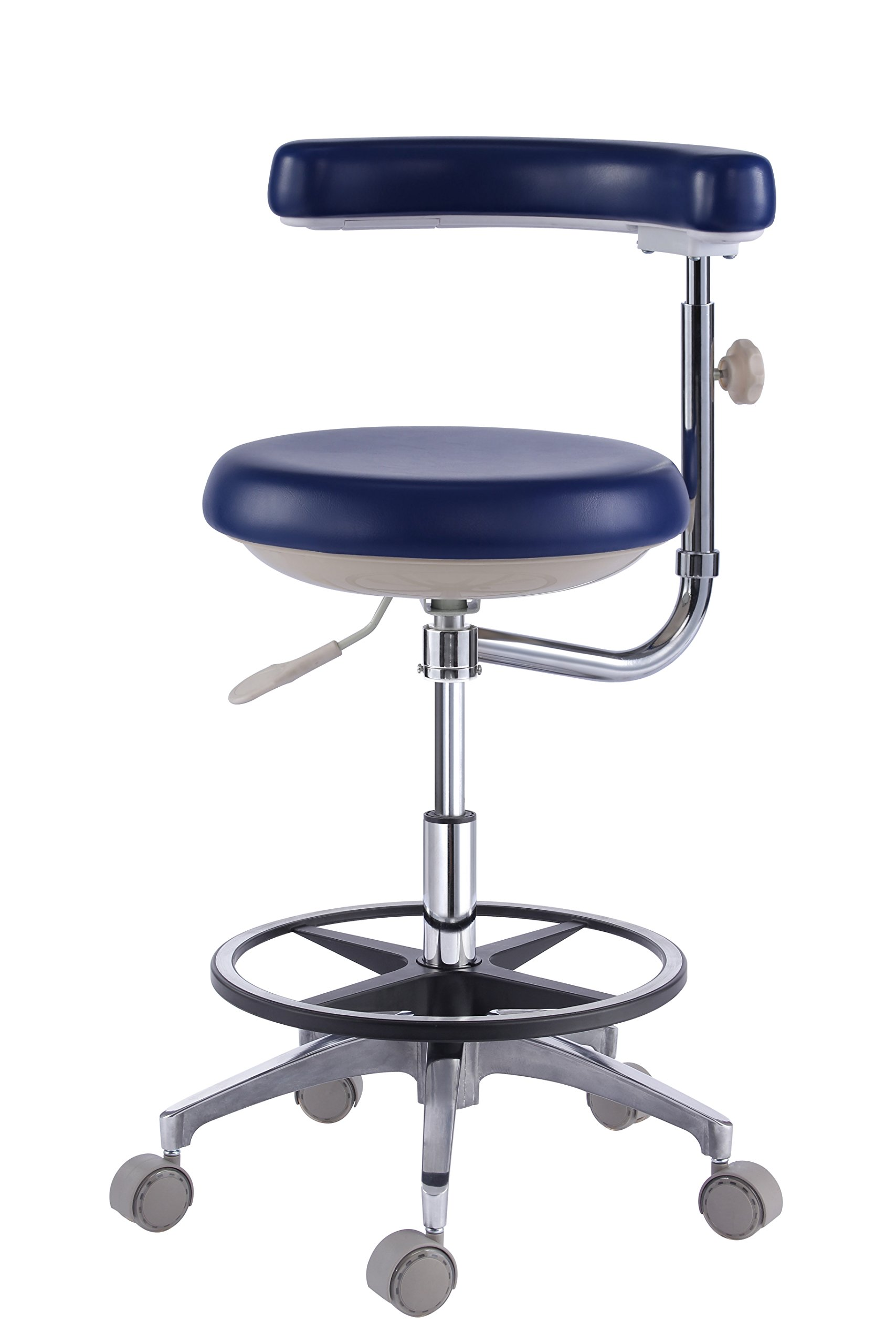 Zeta Dental Dentist's Mobile Chair Nurse's Stools with Backrest PU Leather Light Blue (1#)