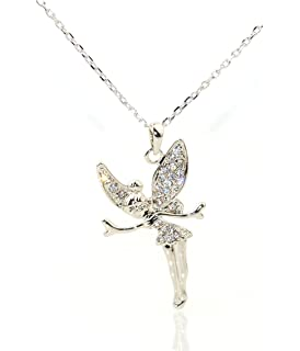 18K Gold Plated Pendant for Girls with dainty guardian angel crystal wings