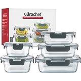 Ubbe | Ultrachef Juego de 5 Recipientes de Vidrio Herméticos (10 piezas) para almacenamiento de Alimentos con Tapas de Cierre