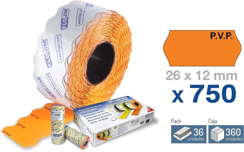 36 Rollos de 750 Etiquetas Marcaje - Naranja 26 x 12 mm.: Amazon.es: Oficina y papelería