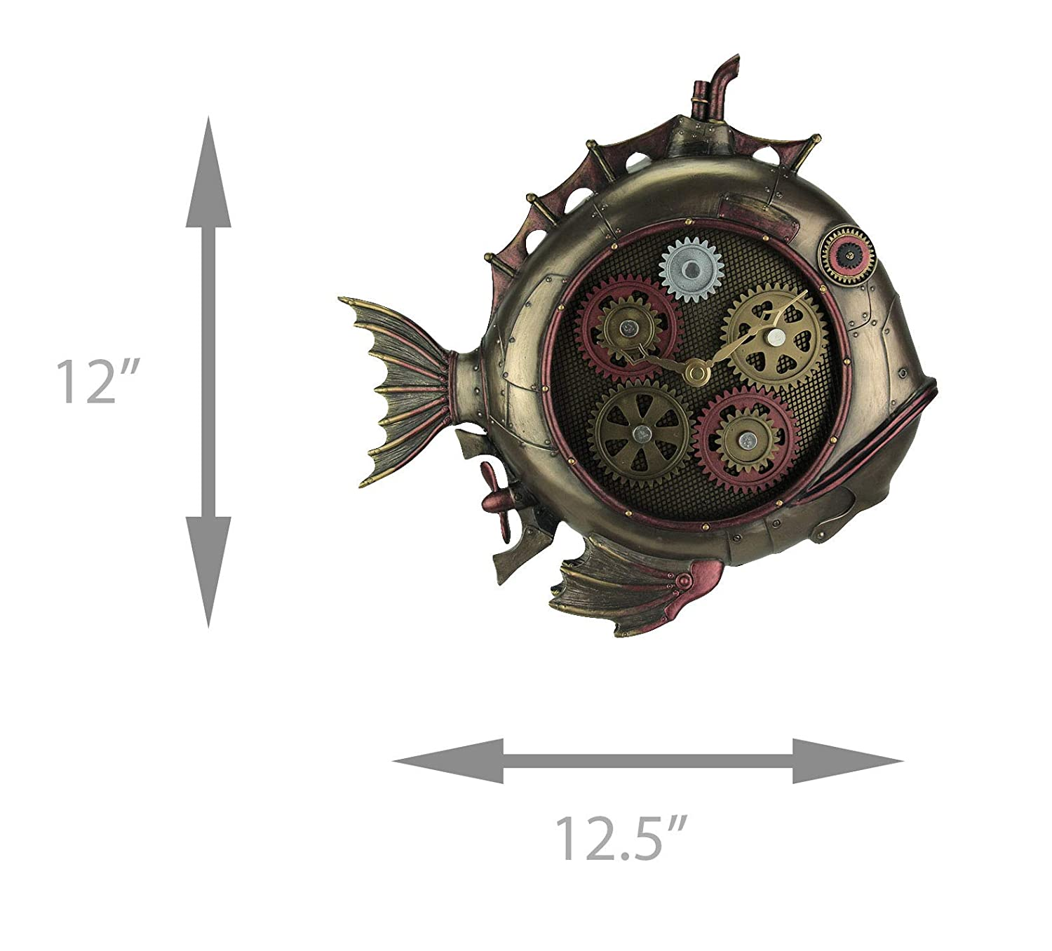 Amazon.com: Resin Wall Clocks Steampunk Style Fish Submarine Wall Clock 12.5 X 12 X 2 Inches Bronze: Home & Kitchen