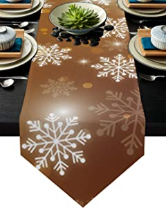 Cloud Dream Home Snowflakes Christmas Table Runner for Morden Greenery Garden Wedding Party Table Setting Decorations 18x72inch