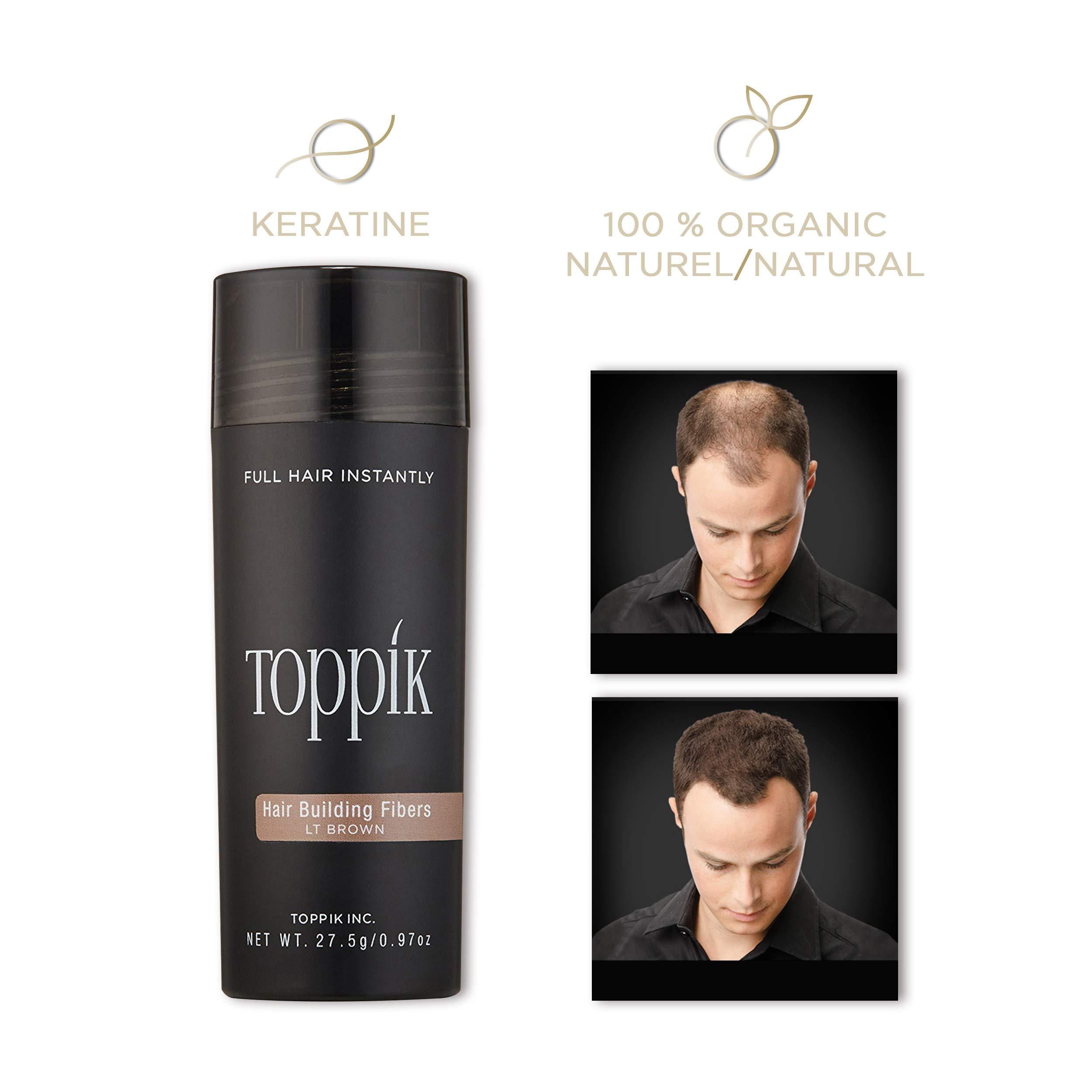 TOPPIK Hair Building Fibers, Light Brown, 0.97 oz.