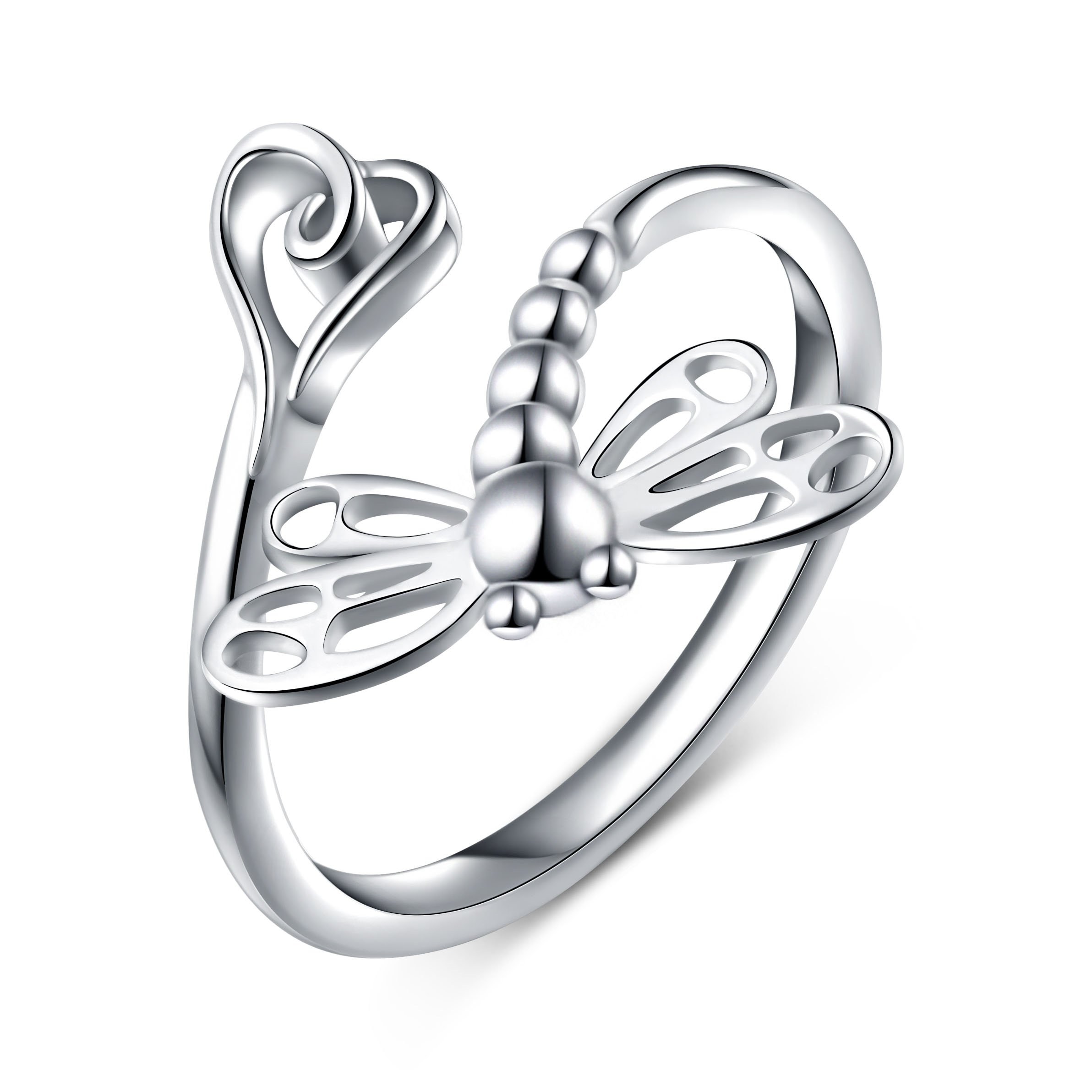 925 Sterling Silver Open Heart Dragonfly Rings for Women (Resizable Ring)