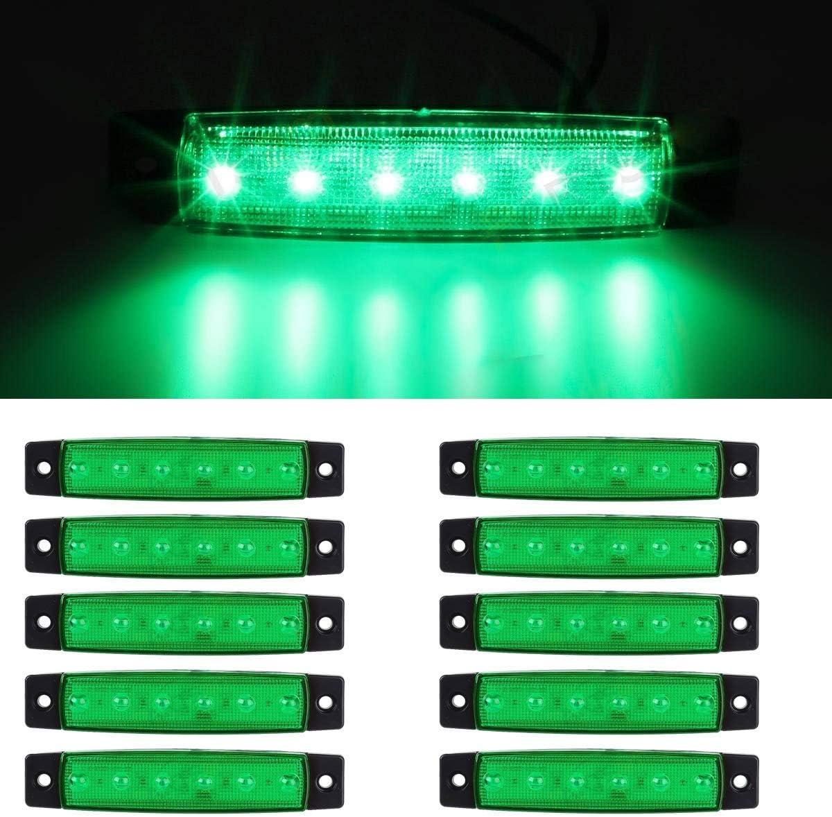 LED-Seitenmarkierungsleuchten Wei/ß 10 St/ücke LED Lkw Seitenlichter 6 SMD LED Seitenmarkierungs-kontrollleuchte Vorne Hinten Seitenlicht Positionslampen 12 V f/ür Auto