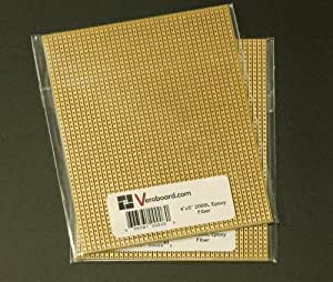 "Pack of 2 Prototype Universal Stripboard 4""x5"" (101x127mm) 2000hole Epoxy Fiber"