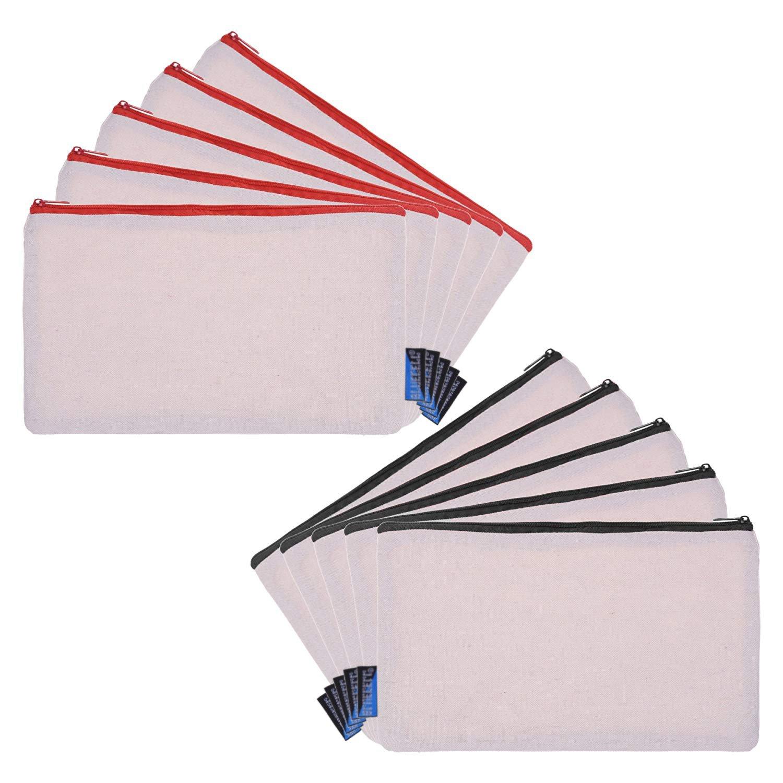 BCP 10-Pieces Multi-purpose Cotton Canvas Zipper Invoice Bill Bag Pen Pencil Cosmetic Makeup Bag Pouch Blank DIY Craft Bag 9 x 5 Inches Random color Zipper