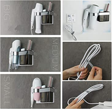 Profesticker Hair Dryer Holder Self-Ahdesive Wall-Mounted Straightener Holder with ABS Storage for Holding Hair Brushes and Styling Accessories Strong Adhesive with Silicone Cable Tie