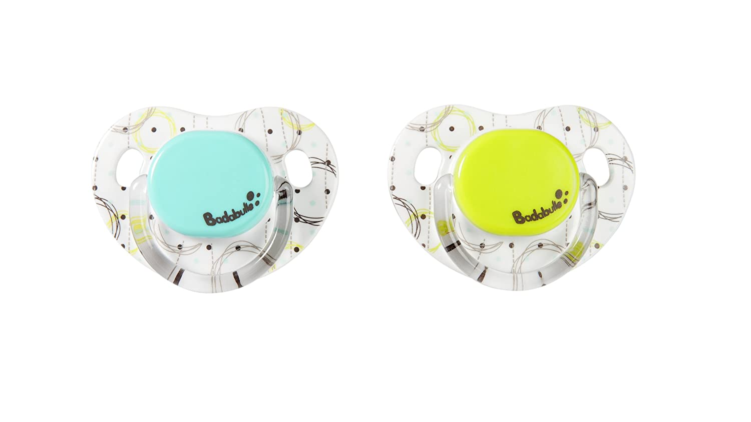 Badabulle 2 Sucettes Physio 0-6 Mois Blanc/Vert/Turquoise B011200