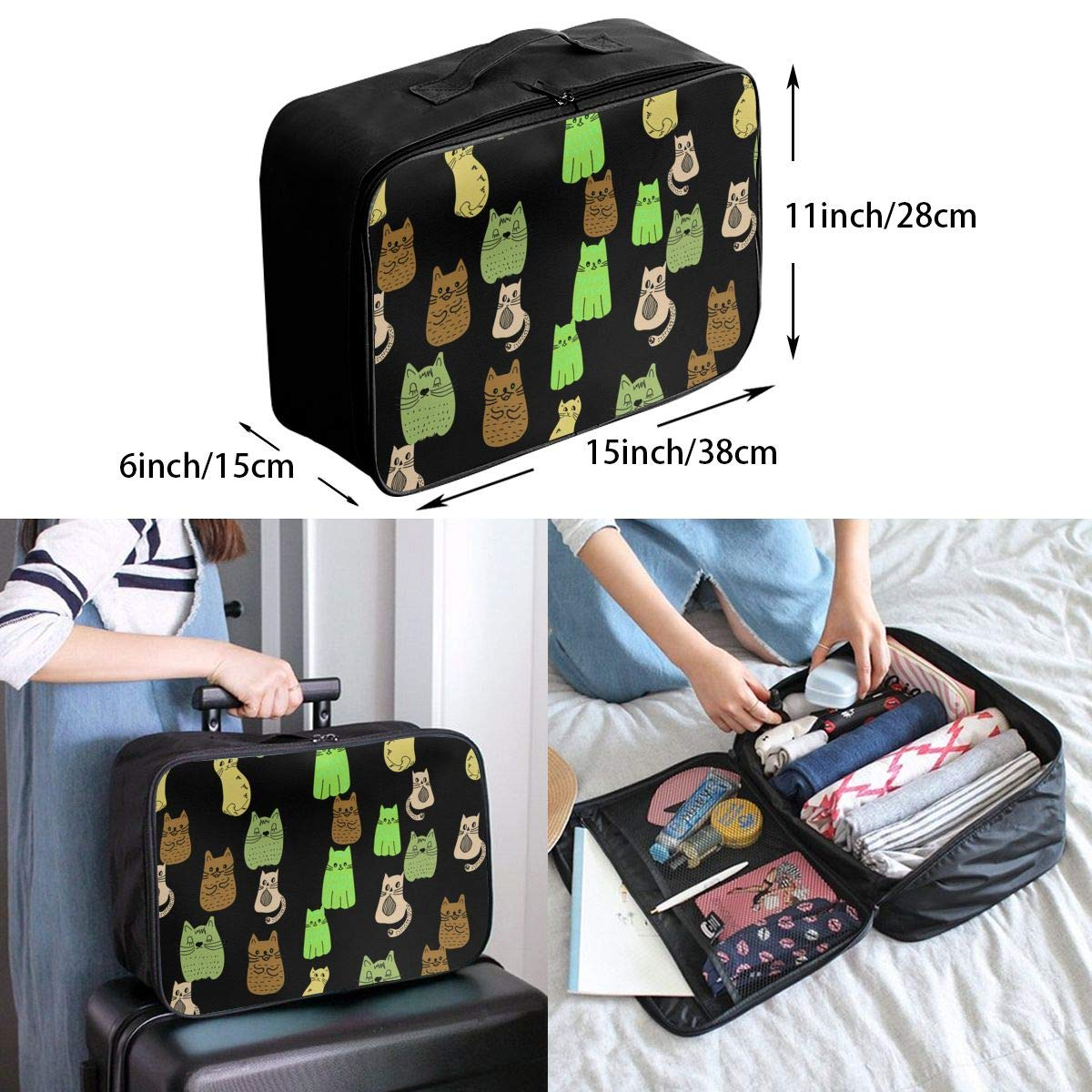 ADGAI Green Cats of Different Shades Canvas Travel Weekender Bag,Fashion Custom Lightweight Large Capacity Portable Luggage Bag,Suitcase Trolley Bag